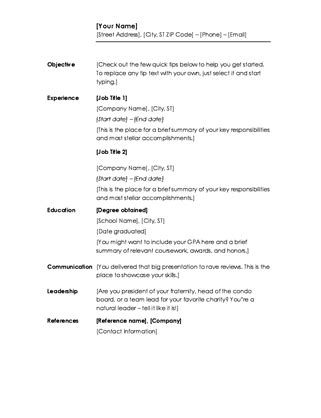 Chronological Resume Templates For Microsoft Word by Business Office