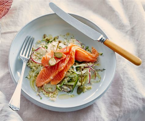 grapefruit cured salmon  fennel  cracked wheat