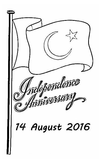 Sketch Flag August Independence Pakistan Coloring Pakistani