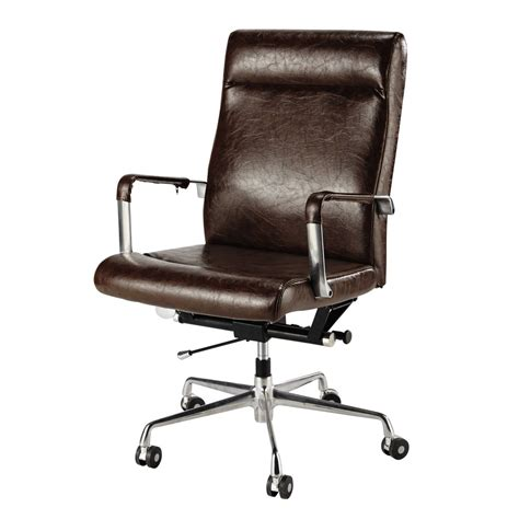 fauteuil de bureau marron brown vintage office chair on castors maisons du