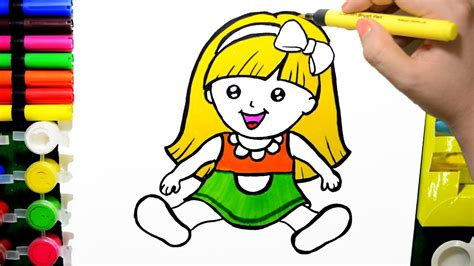 draw color paint cute baby doll coloring page