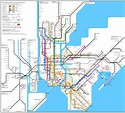 Large detailed subway map of New York City, the USA. New ...