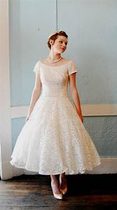 vintage tea length lace wedding dress Naf Dresses