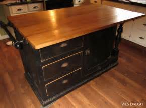 kitchen island with butcher block top black reclaimed antique cupboard base kitchen island with drop leaf butcher block top from wes
