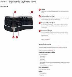 Microsoft Natural Ergonomic Keyboard 4000 Usb B2m