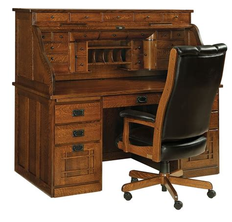 amish handcrafted mission arts crafts roll top desk office furniture solid ebay