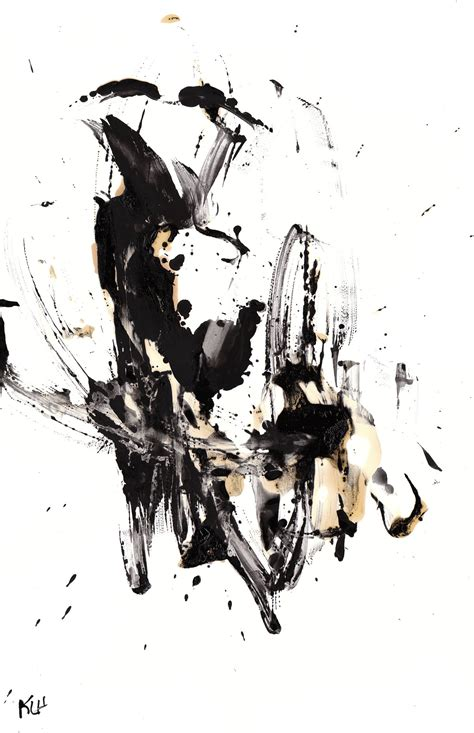 Abstract Painting Black And White by Black And White Modern Abstract Original 11x17