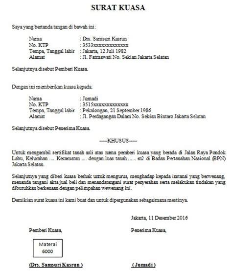 Contoh Surat Kuasa Pengambilan Berkas by Contoh Surat Kuasa Pengambilan Sertifikat Cara Buat Surat