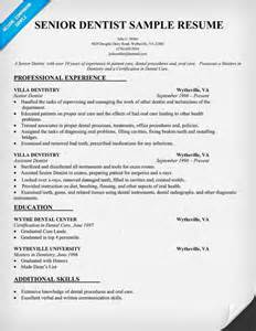 Receptionist Cover Letter With Experience Senior Dentist Resume Sle Dentist Health Resumecompanion Resume Sles Across All