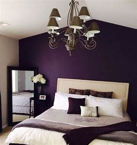 Purple vintage bedroom with deep walls painted