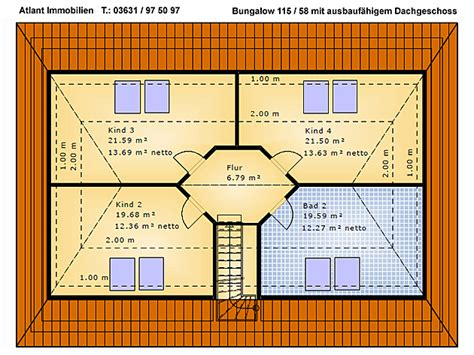 Bungalow Mit Dachgeschoss by Bungalow 115 58 Einfamilienhaus Neubau Massivbau Grundriss