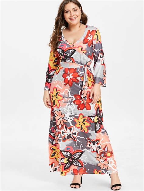 Wipalo Women Dress Plus Size V Neck Sleeveless Flower Maxi ...