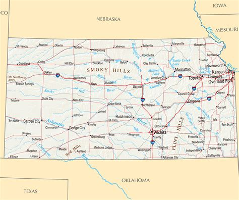 large map  kansas state  roads highways relief