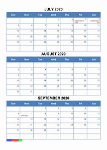 Sept 2020 Calendar Printable Free Printable July August September 2020 Calendar With