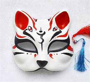 Hand Painted Half Face Japanese Fox Mask Kitsune Cosplay ...