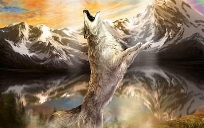 Wolf Painting Wolves Desktop Pc Howling Fantasy