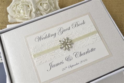 Wedding Guest Book by Personalised Wedding Guest Book Vintage Lace