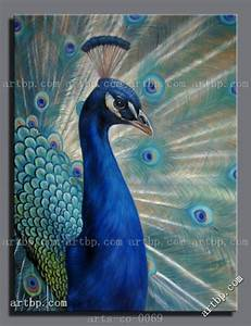 Hand Painted Art Oil Painting Canvas Peacock Canvas Trees