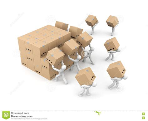 people unload  bunch  boxes parcel delivery stock