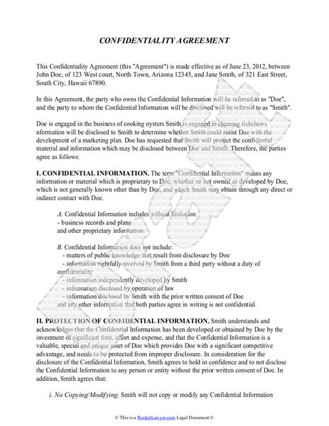 confidentiality agreement template free sle confidentiality agreement