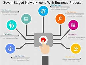 Qj Seven Staged Network Icons With Business Process Flat