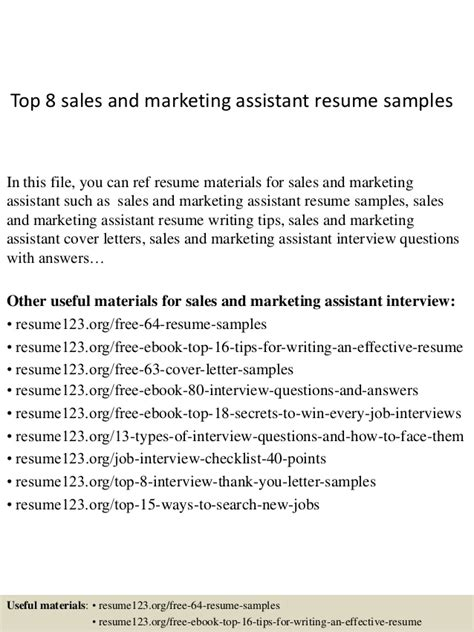 top 8 sales and marketing assistant resume sles
