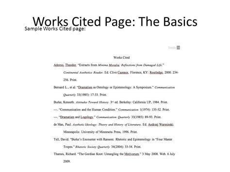 Work Cited Page Examples