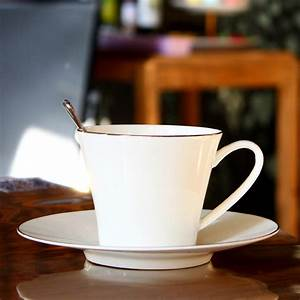 Mug à Café : 220ml plain white ceramic coffee cup set cafe elegant cofffee cup and saucer english bone ~ Teatrodelosmanantiales.com Idées de Décoration