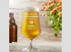 Bierglas mit Gravur FrauenfußballSpruch auf 0,4 l Pilsglas