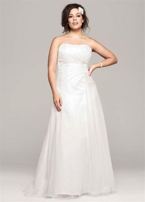 Draped Wedding Dresses - david s bridal chiffon a line wedding dress with side
