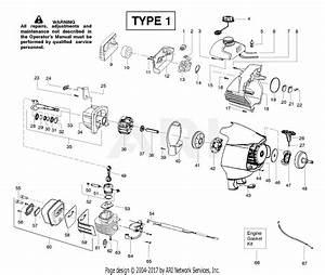 Poulan Ppb150e Gas Trimmer Type 1 Parts Diagram For Engine