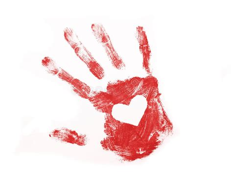 Red Hand Print With White Heart Inside Stock Image
