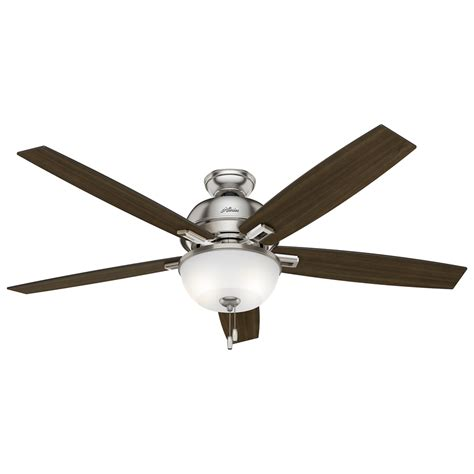 hunter fan ceiling fan light kit shop hunter donegan 60 in brushed nickel indoor downrod or