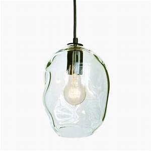 Bubble clear hand blown glass pendant light small
