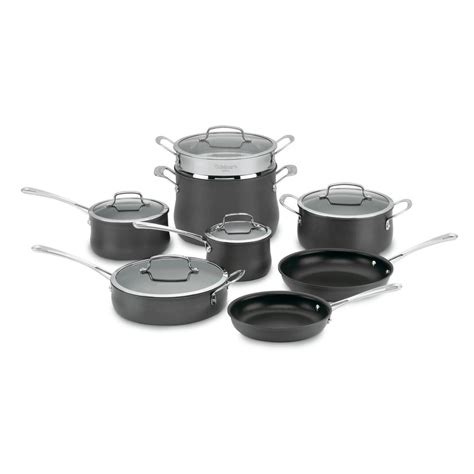 cuisinart piece hard cookware anodized contour lids nonstick sets bath beyond bed open stainless classic pans pots palm stick non