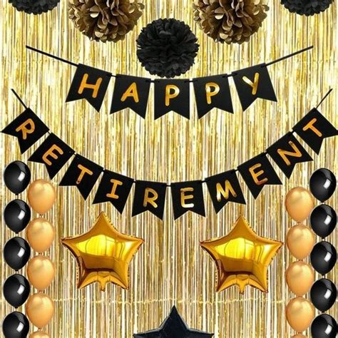 happy retirement banner party decorations faver gifts  pom poms balloons  gold foil