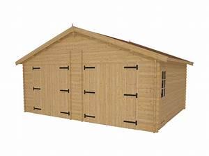 garage double prefabrique en bois twix 44mm With garage en bois en kit
