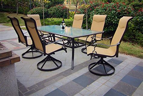 7pc cast aluminum swivel sling patio dining set with