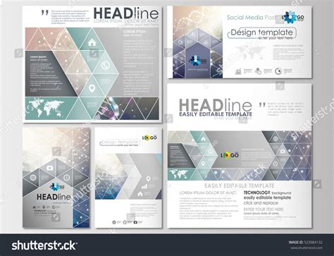 social media post template social media posts set business templates stock vector 523984132