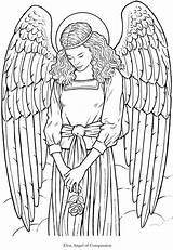 Adult Coloring Pages Colouring Angels Angel Adults Printable Fairies Books Dover Gothic Detailed Wings Warrior Goth Publications sketch template