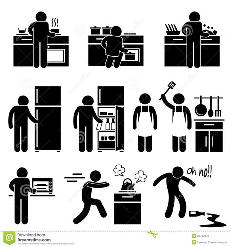 6 floor l man cooking washing at kitchen pictogram stock vector