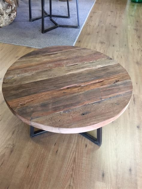 kleine salontafel hout ronde salontafels rustiek hout met staal