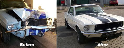 wrecked car before and after workshop services essex mustang centre