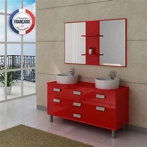 Meuble De Salle : meuble de salle de bain double vasque rouge meuble de salle de bain rouge dis911co ~ Nature-et-papiers.com Idées de Décoration