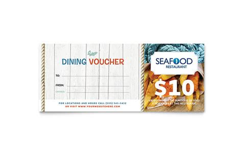 seafood restaurant gift certificate template word