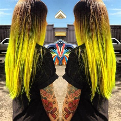 Brown Hair With Yellow Highlights by Brown To Neon Yellow Ombre Hair Yellow Hair Color