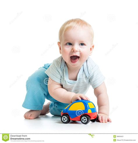 kid play car funny boy baby playing with toy car stock image image
