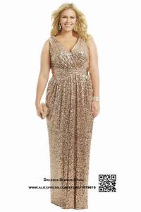 plus size woman gold sequins evening dress floor length v With robe bustier grande taille