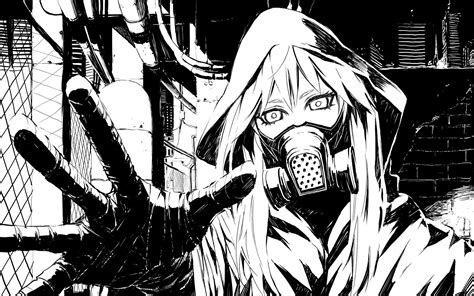 Black And White Anime Wallpaper - black and white vocaloid gas masks drawings anime