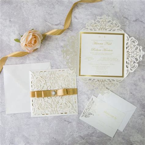 ivory  gold lasercut invitations red rose invitations